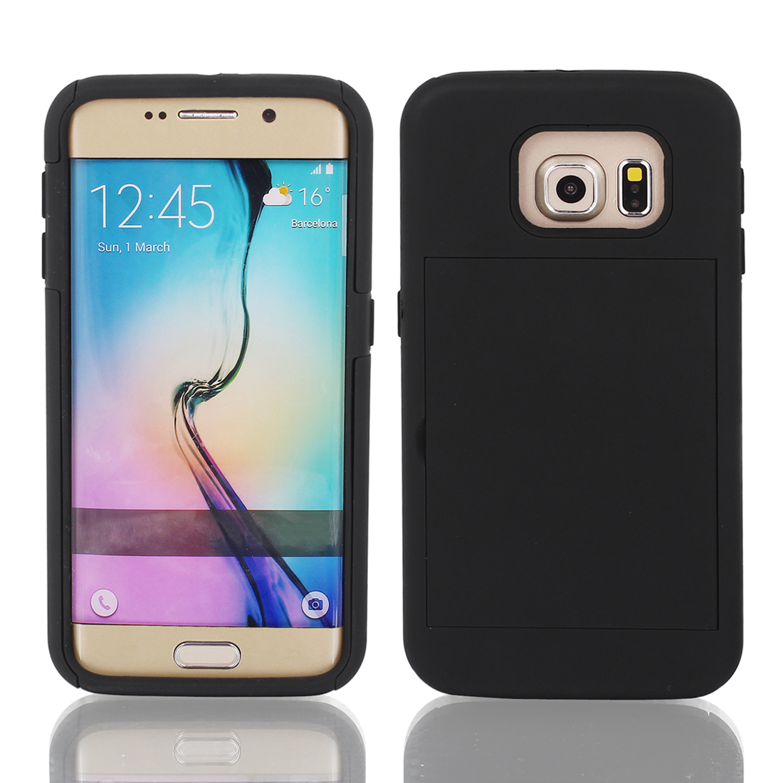 Shock Proof Stand Kickstand Case Cover Black for Galaxy S6 G9200