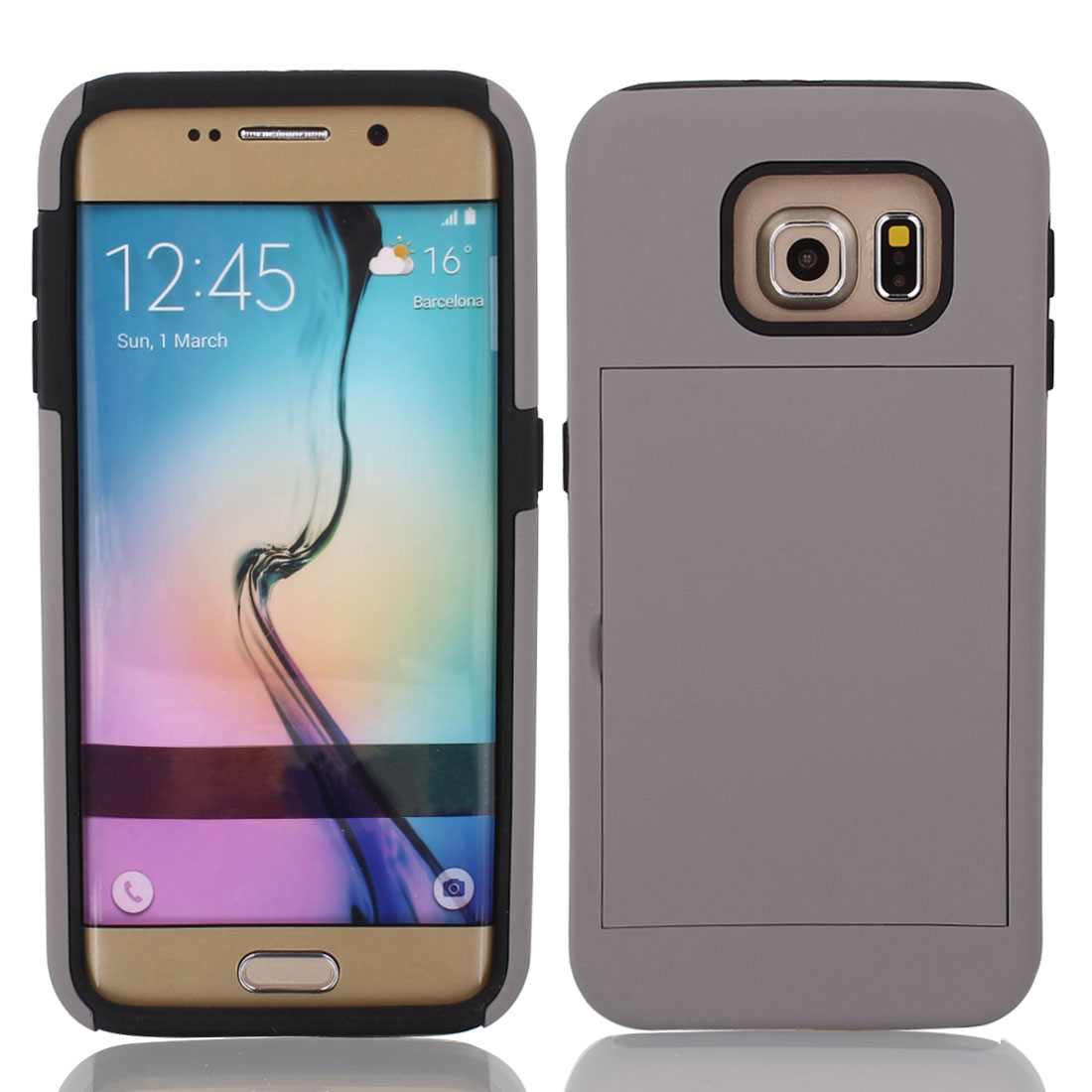 Shock Proof TPU Case Cover Protective Gray w Stand for Galaxy S6 G9200