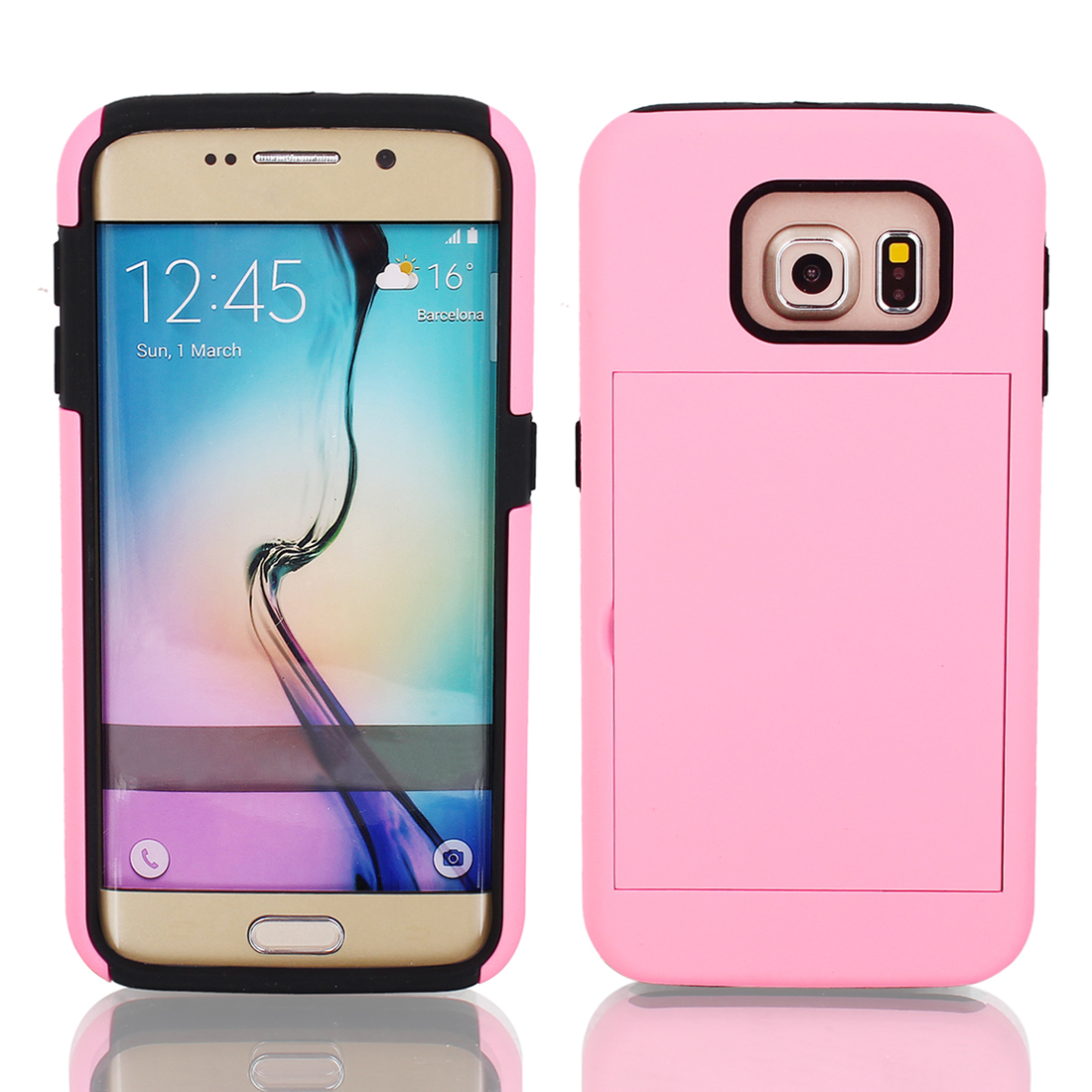 Shock Proof TPU Case Cover Protective Pink w Stand for Galaxy S6 G9200
