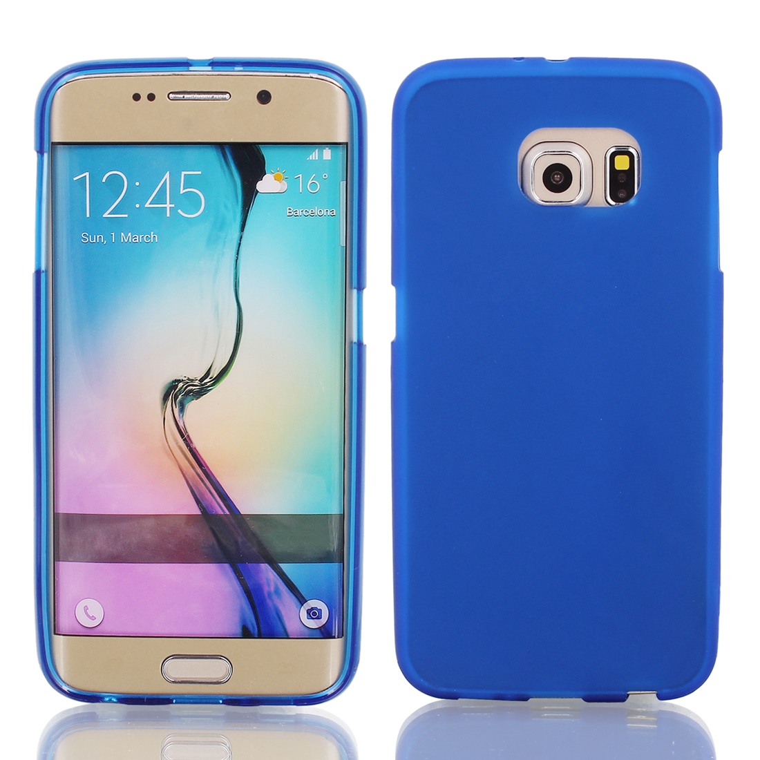 Blue Silicone Back Case Cover w Protective Film Wiper for S6/G925