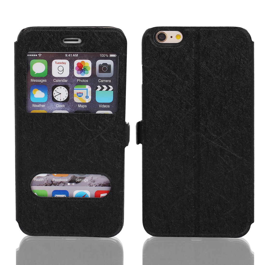 Magnetic Flip Faux Leather Pouch Case Cover Skin Black for iPhone 6 Plus 5.5""