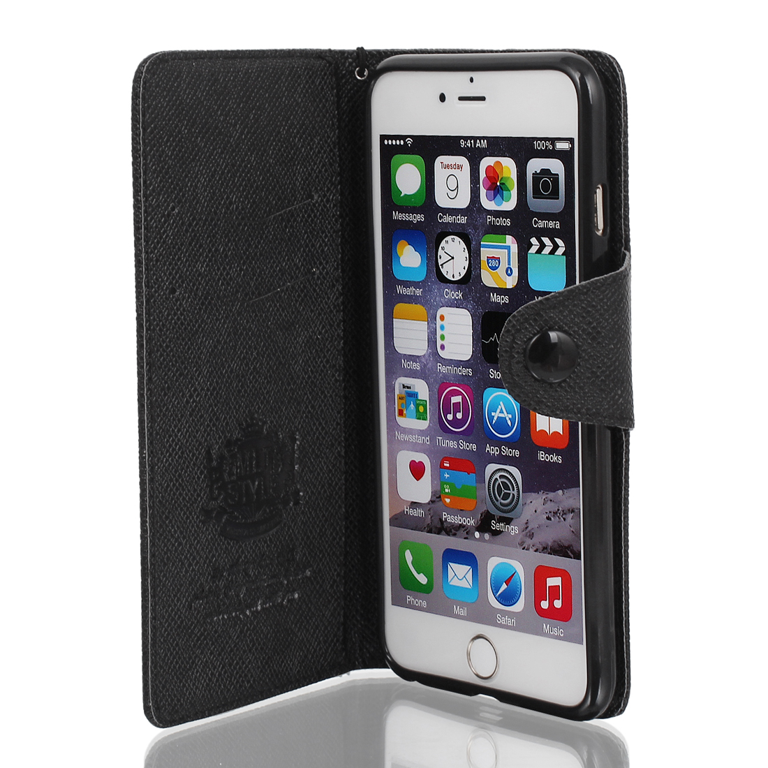 Magnetic Flip PU Wallet Pouch Case Cover Skin Black for iPhone 6 Plus 5.5""
