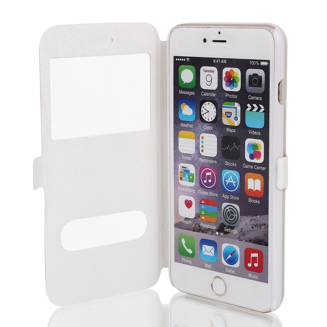 """Magnetic Flip Faux Leather Pouch Case Cover Skin White for iPhone 6 Plus 5.5"""""""