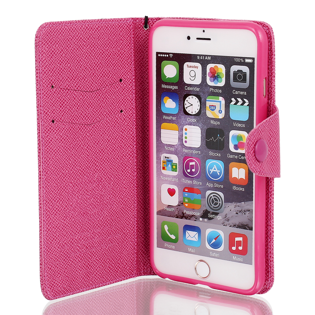 Magnetic Flip PU Wallet Pouch Case Cover Skin Fuchsia for iPhone 6 Plus 5.5""