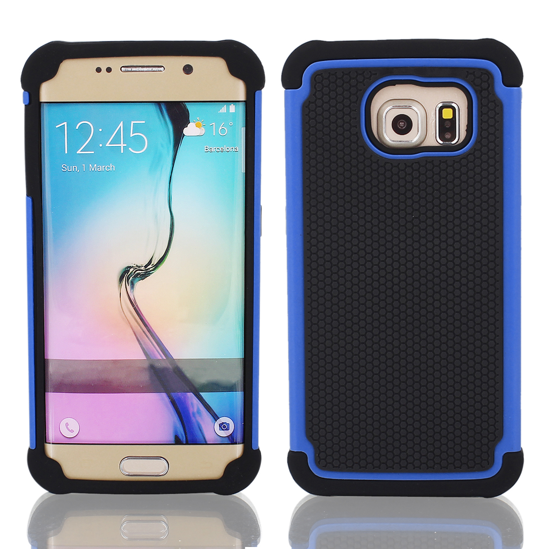 Ultra-thin Shockproof Case Cover Black Blue + Protective Film for Galaxy S6 G9200