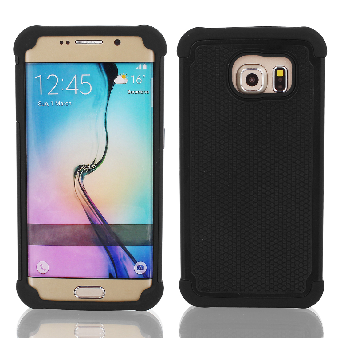 Ultra-thin Dustproof Case Cover Black + Protective Film for Galaxy S6 G9200