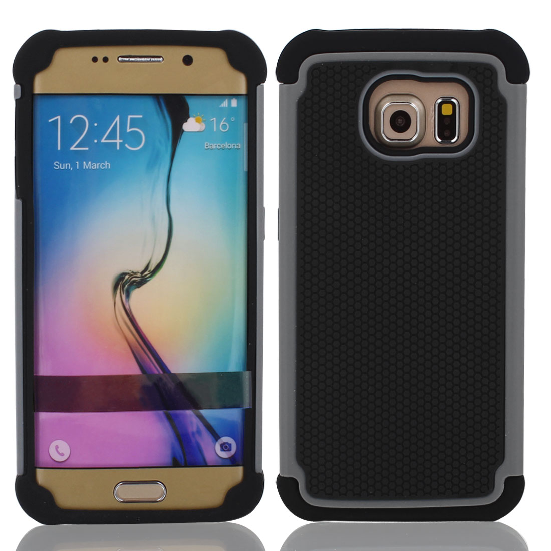 Ultra-thin Shockproof Case Cover Black + Protective Film for Galaxy S6 G9200