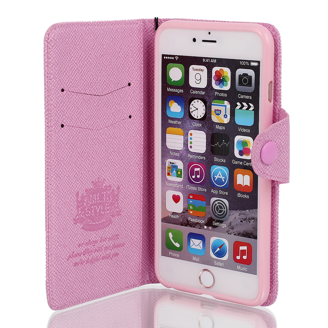 Magnetic Flip PU Wallet Pouch Case Cover Skin Pink for iPhone 6 Plus 5.5""