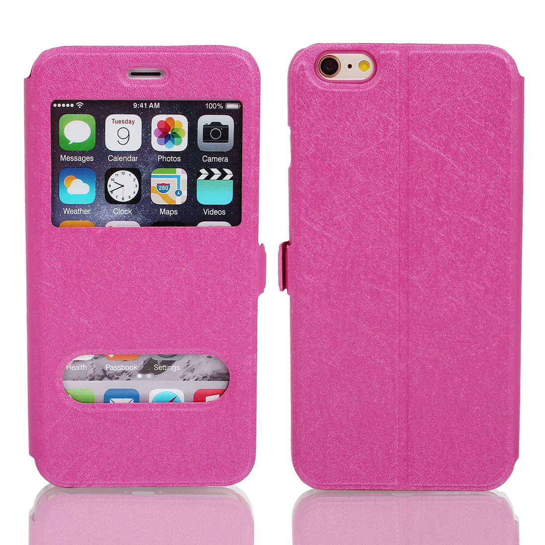 Magnetic Flip Faux Leather Pouch Case Cover Skin Pink for iPhone 6 Plus 5.5""