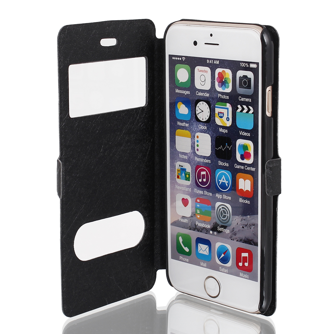 Magnetic Flip Stand Faux Leather Pouch Case Cover Black for iPhone 6 4.7""