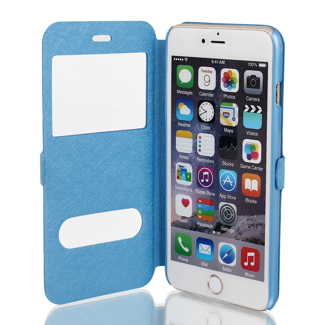 Magnetic Flip Faux Leather Pouch Case Cover Skin Blue for iPhone 6 Plus 5.5""