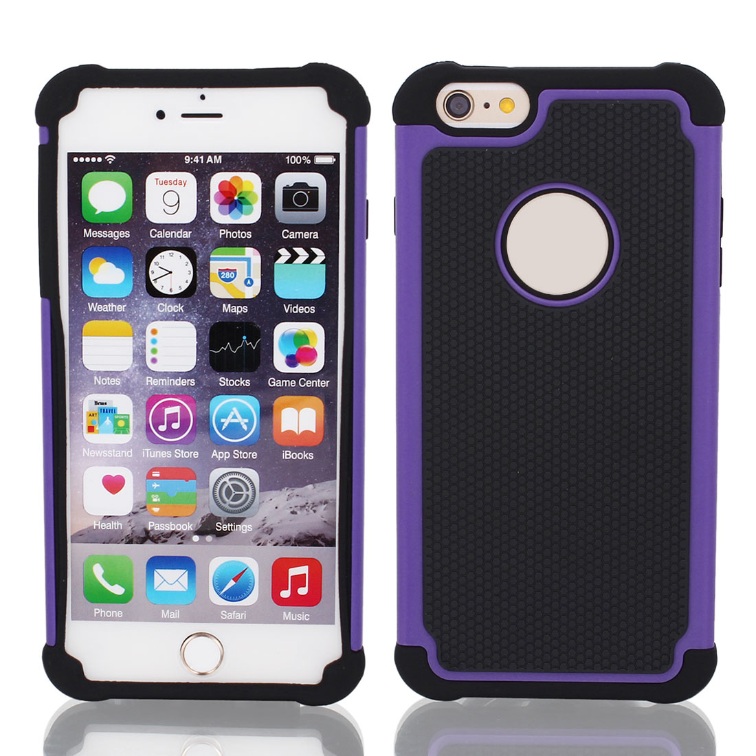 Black Rugged Rubber Matte Hard Case Cover Purple for Apple iPhone 6 Plus 5.5""