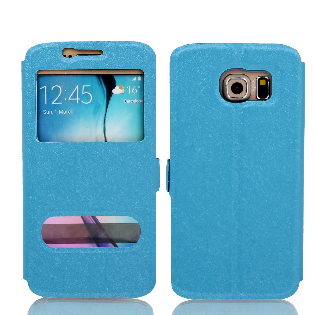 Magnetic Flip Faux Leather Case Cover Pouch Blue for Galaxy S6 G9200