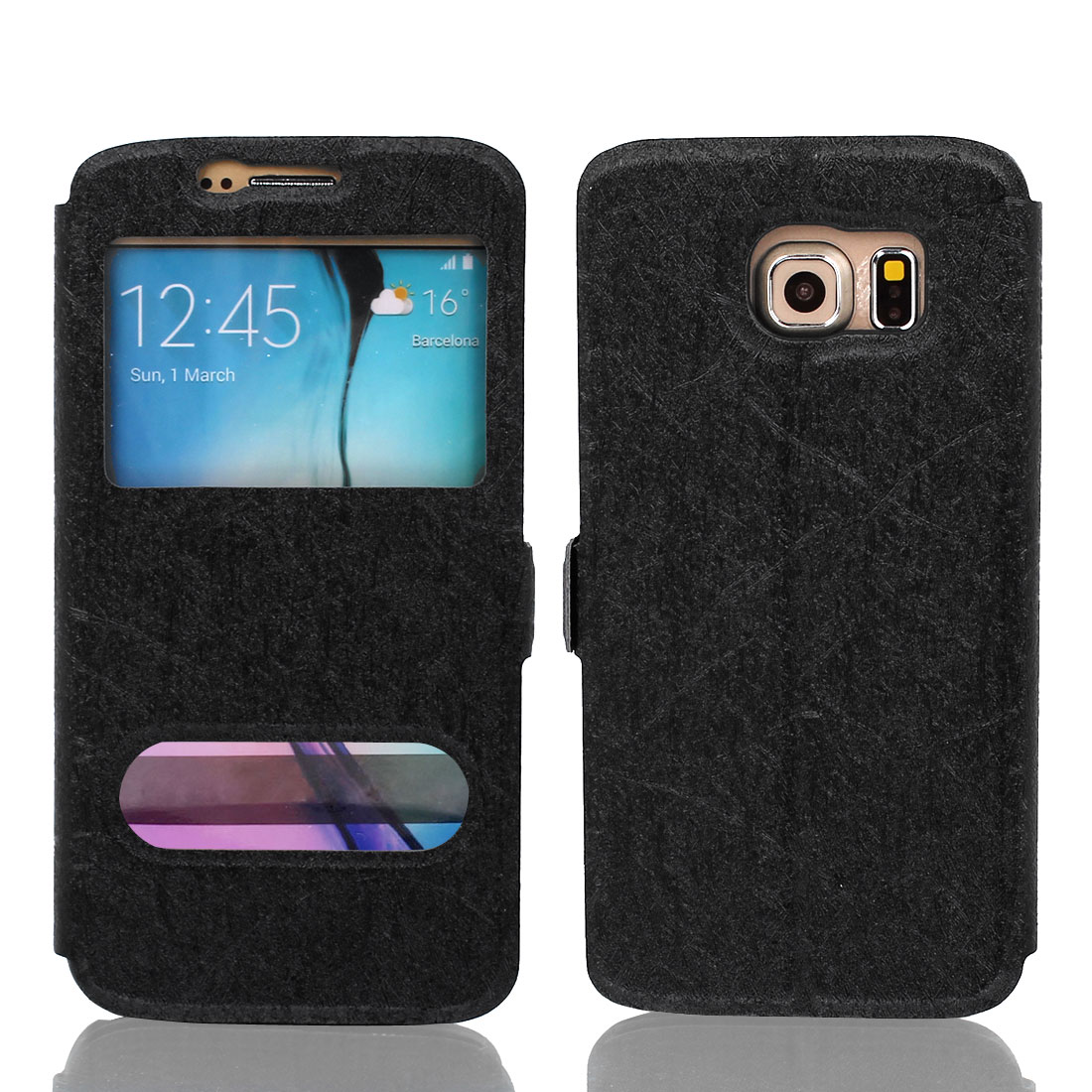 Magnetic Flip Faux Leather Case Cover Pouch Black for Galaxy S6 G9200
