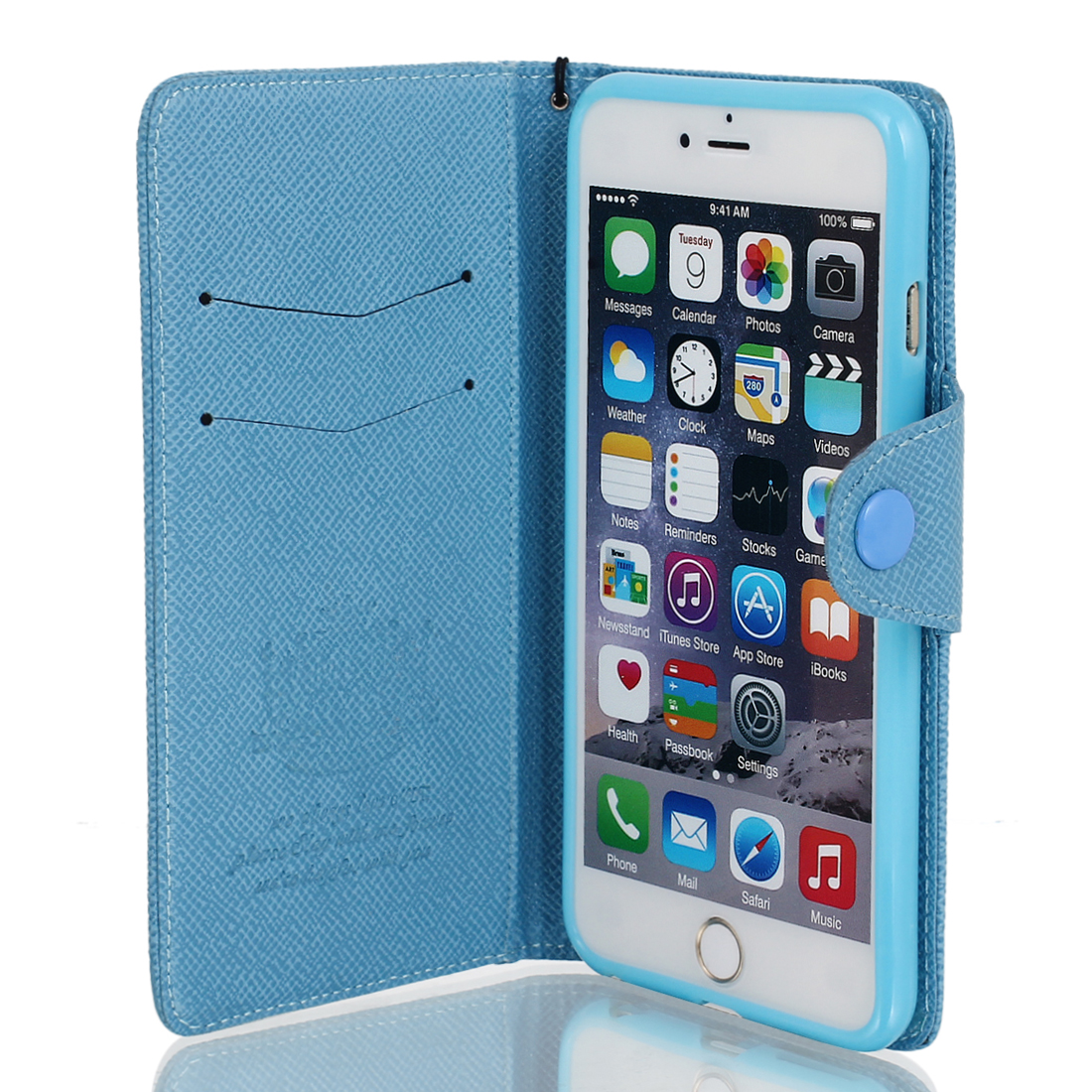 Magnetic Flip PU Wallet Pouch Case Cover Skin Blue for iPhone 6 Plus 5.5""