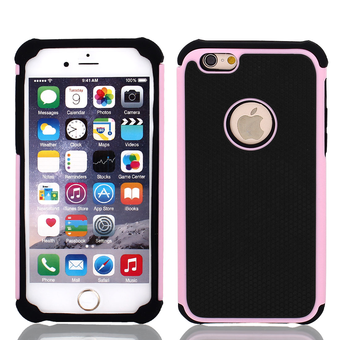 Pink TPU Shock Proof Phone Case Cover Black for iPhone 6 4.7""