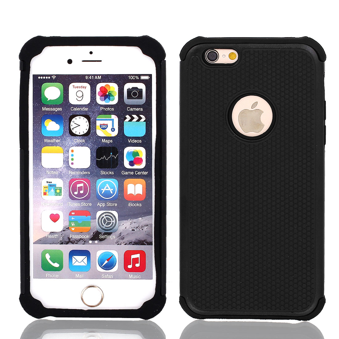 Shockproof Hybrid Builder Cover Silicone Case Black for iPhone 6 4.7""