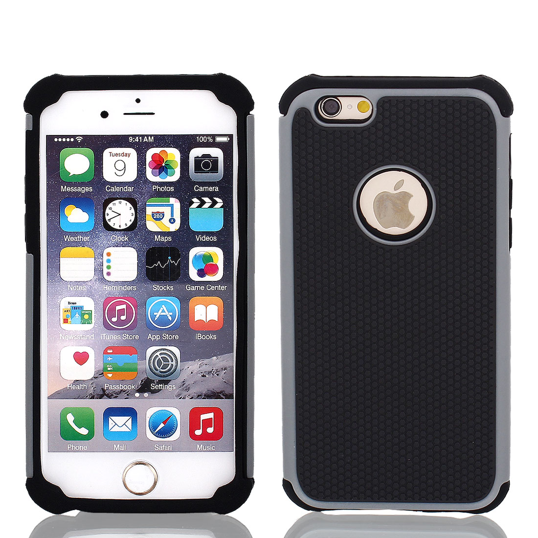 Gray TPU Shock Proof Phone Case Cover Black for iPhone 6 4.7""