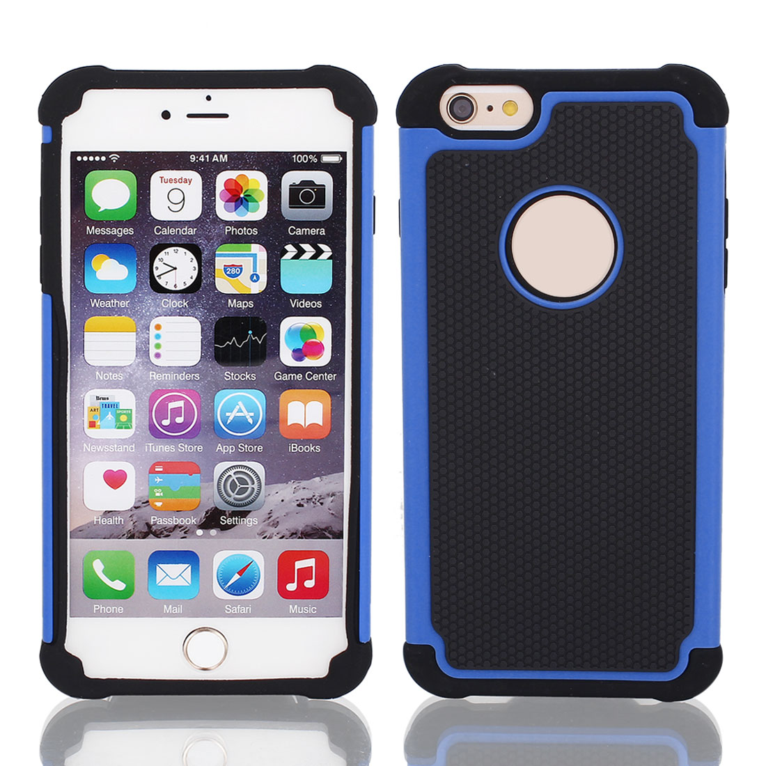 Black Rugged Rubber Matte Hard Case Cover Blue for Apple iPhone 6 Plus 5.5""