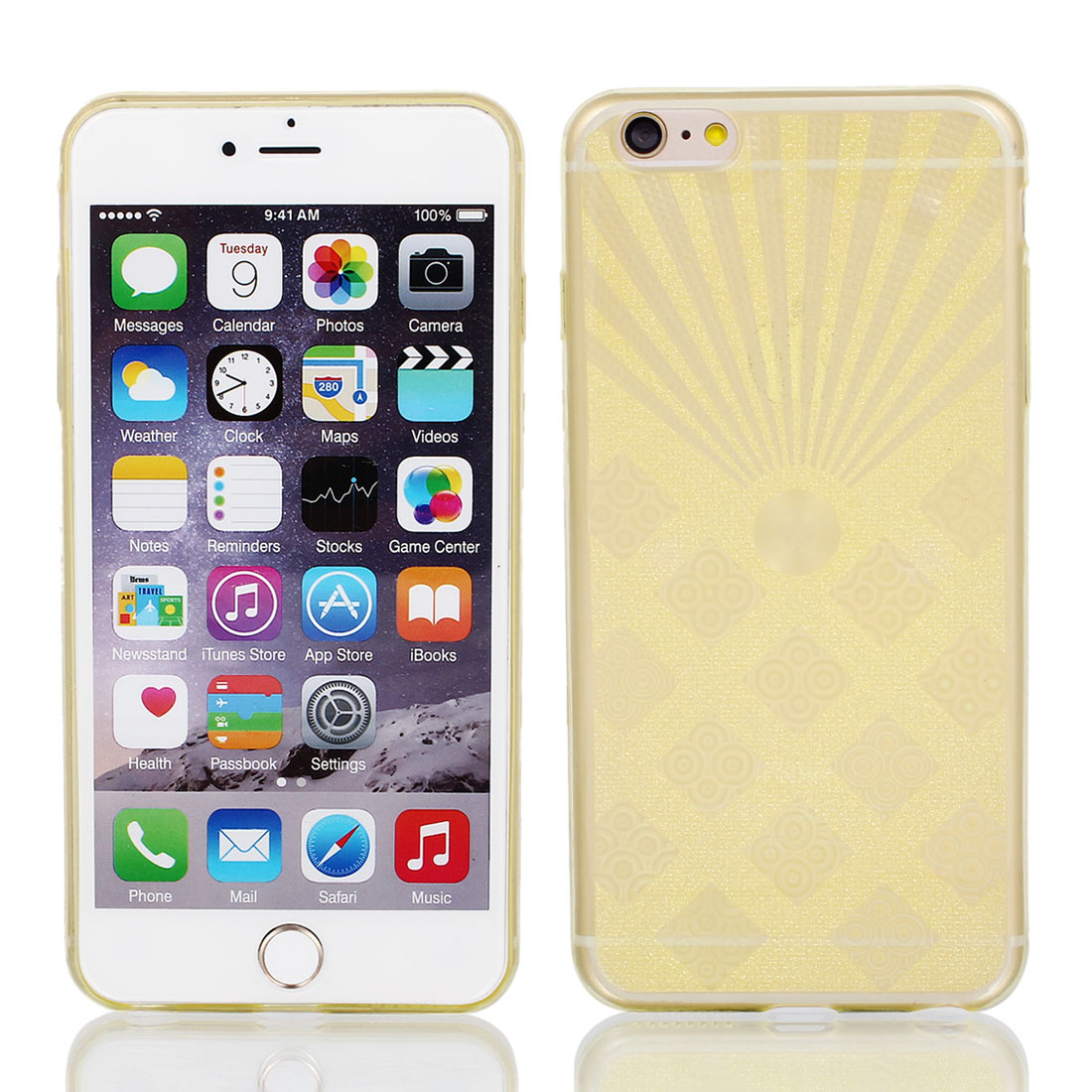 Light Yellow Back Case Cover w Protective Film Wiper for Apple iPhone 6 Plus 5.5""