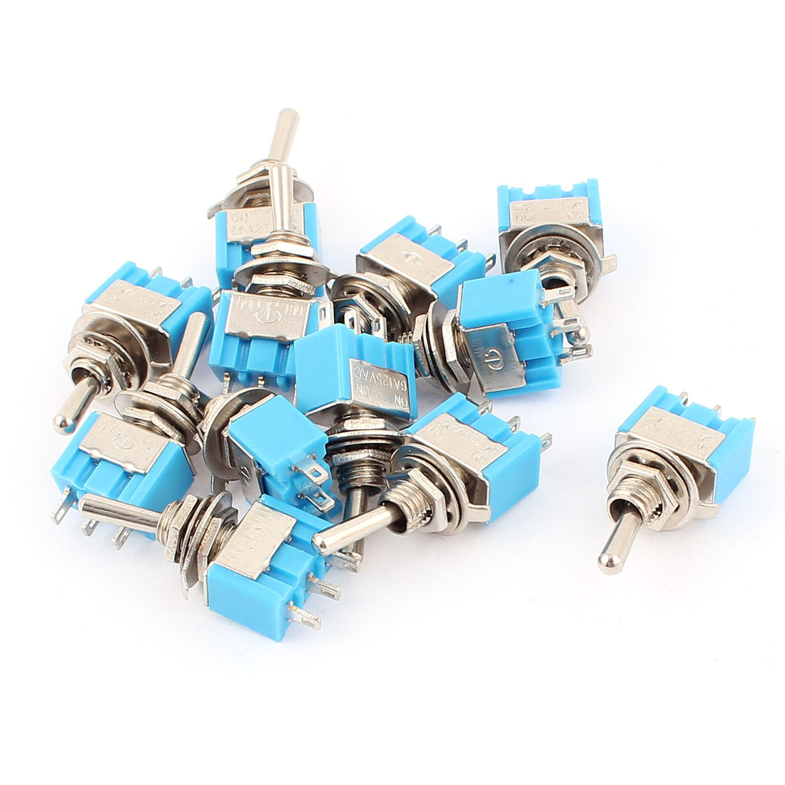 12 Pcs AC 125V 6A 3Pole SPDT ON-ON Self Locking Mini Toggle Switches Blue