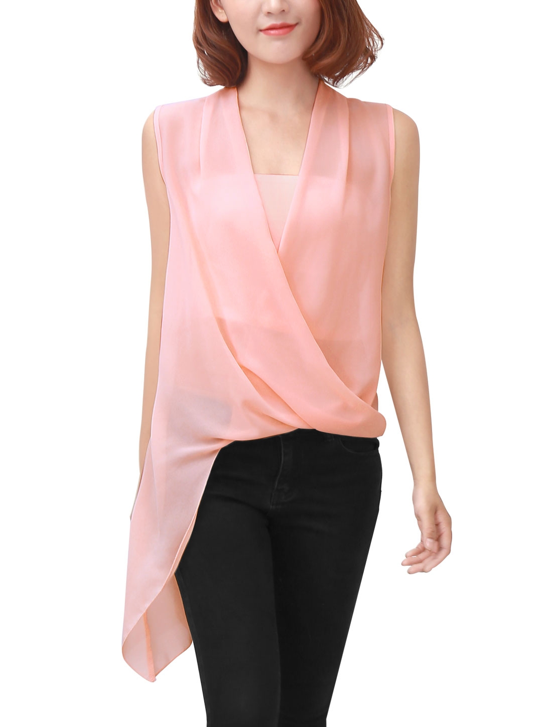 Women Drape Front V Neck Irregular Hem Chiffon Blouse w Tube Top Nude Pink XS