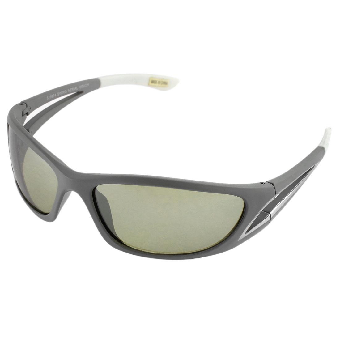Unisex Plastic Rectangle Full Rim Single Bridge Army Green Lens Sunglasses