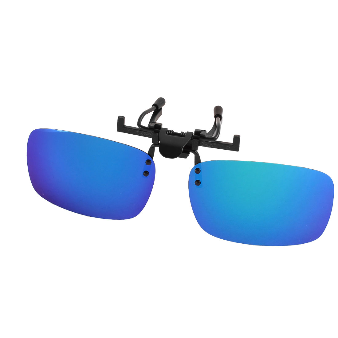 Unisex Travelling Gradient Blue Lens Rimless Clip On Polarized Sunglasses