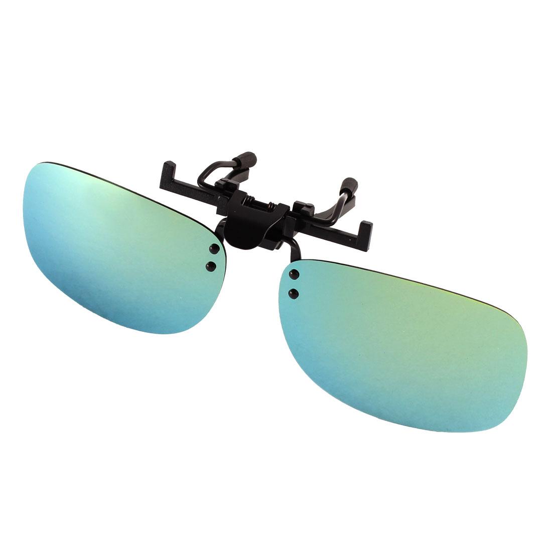 Unisex Fishing Olive Green Lens Rimless Clip On Polarized Sunglasses