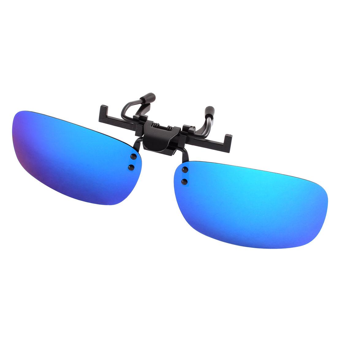 Unisex Cycling Gradient Blue Lens Rimless Clip On Polarized Sunglasses