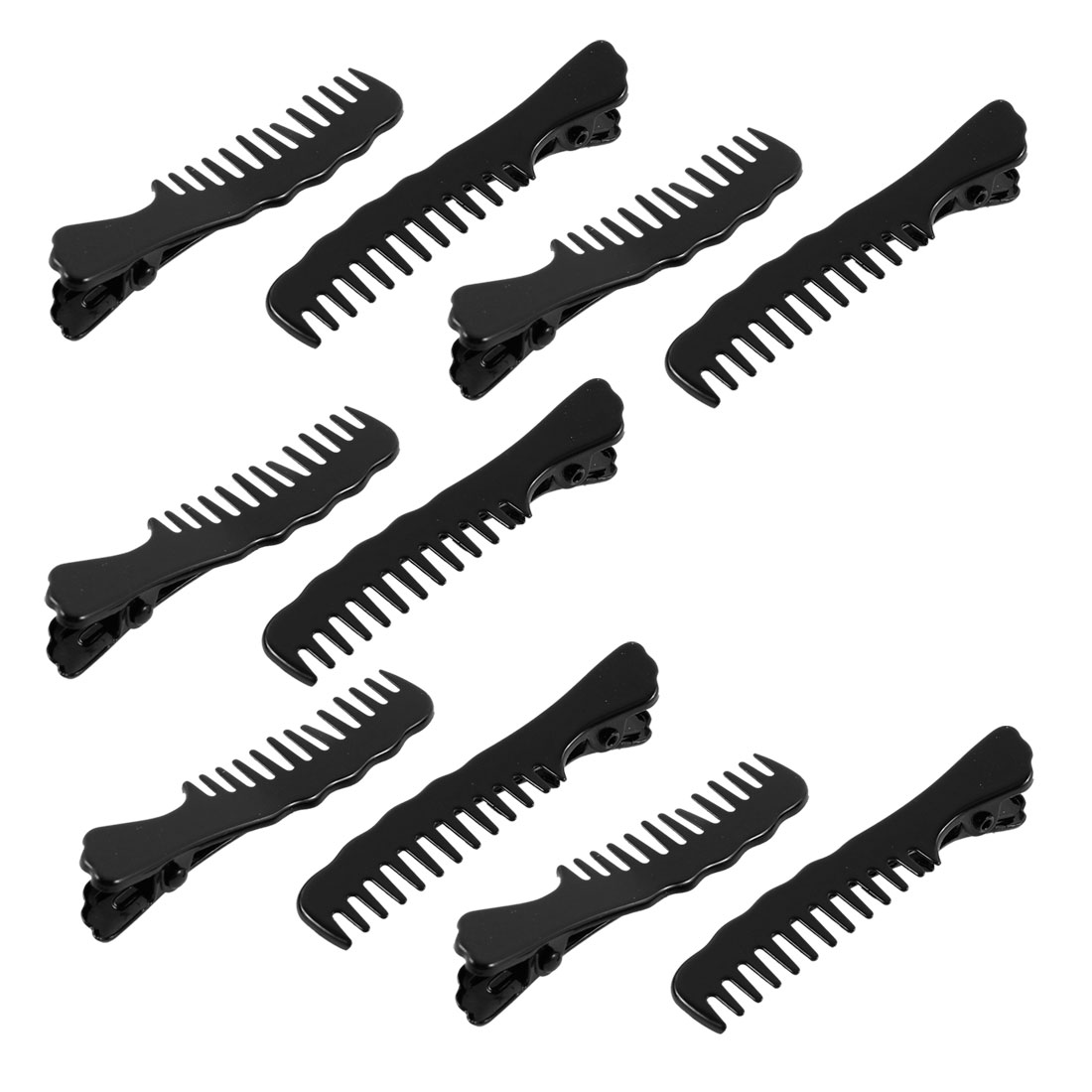 Spring Loaded Single Comb Shape Large Beak Hair Clips Alligator Barrette 10 Pcs Black