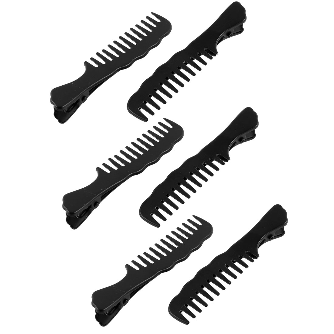 Spring Loaded Single Comb Design Large Beak Hair Clips Alligator Barrette 6 Pcs Black
