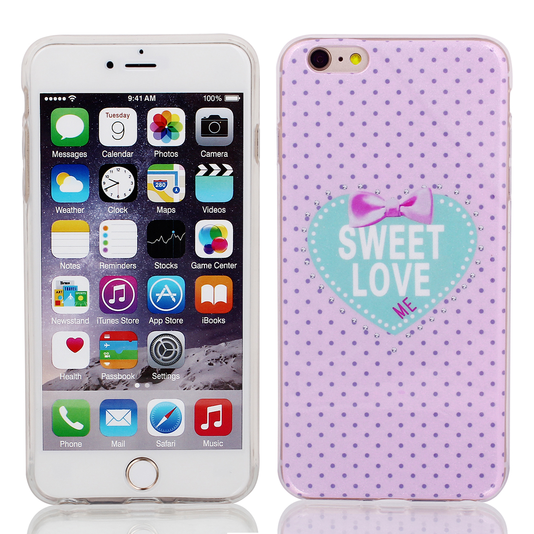 "Soft Plastic Dots Print Ultra Thin Case Cover Protector for Apple iPhone 6 Plus 5.5"" Pale Pink"