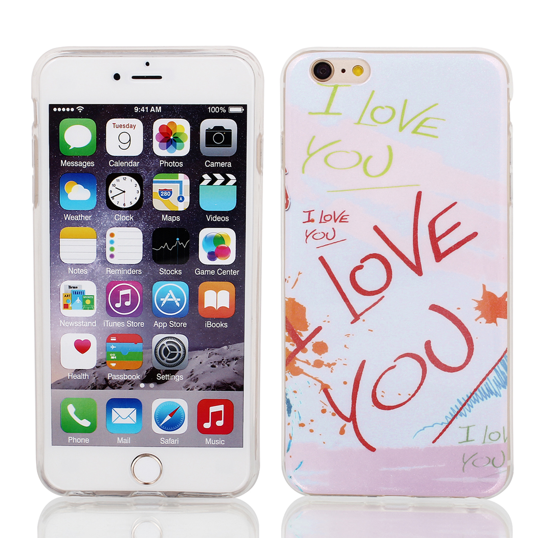 "Soft Plastic Letters Print Ultra Thin Case Cover Protector for Apple iPhone 6 Plus 5.5"" Light Purple"