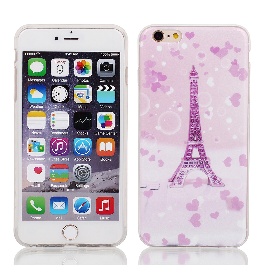 "Soft Plastic Eiffel Tower Print Ultra Thin Case Cover Protector for Apple iPhone 6 Plus 5.5"" Pink"
