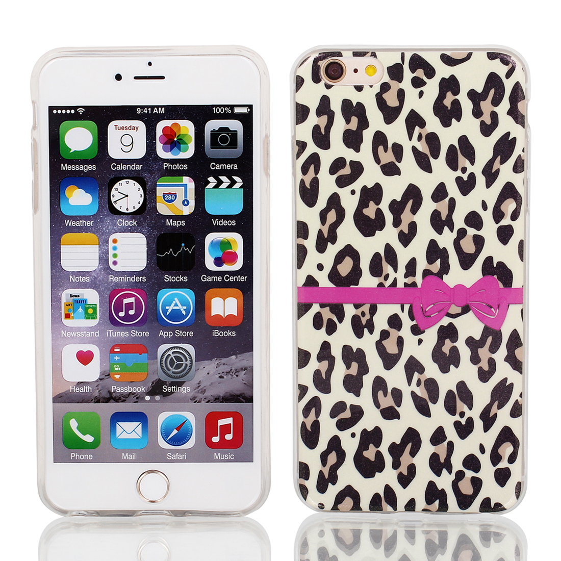 "Soft Plastic Leopard Print Ultra Thin Case Cover Protector for Apple iPhone 6 Plus 5.5"" Yellow"