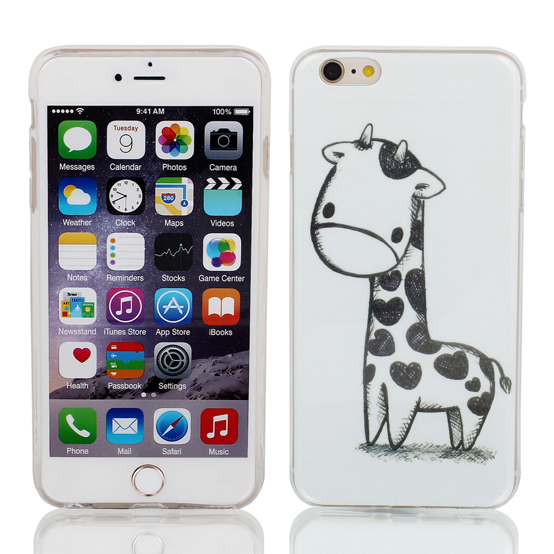 "Soft Plastic Deer Print Ultra Thin Case Cover Protector for Apple iPhone 6 Plus 5.5"" White"