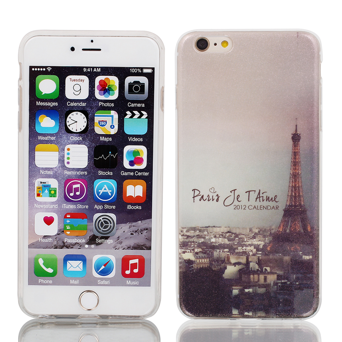 "Plastic Eiffel Tower Print Ultra Thin Case Cover for Apple iPhone 6 Plus 5.5"" Light Purple"
