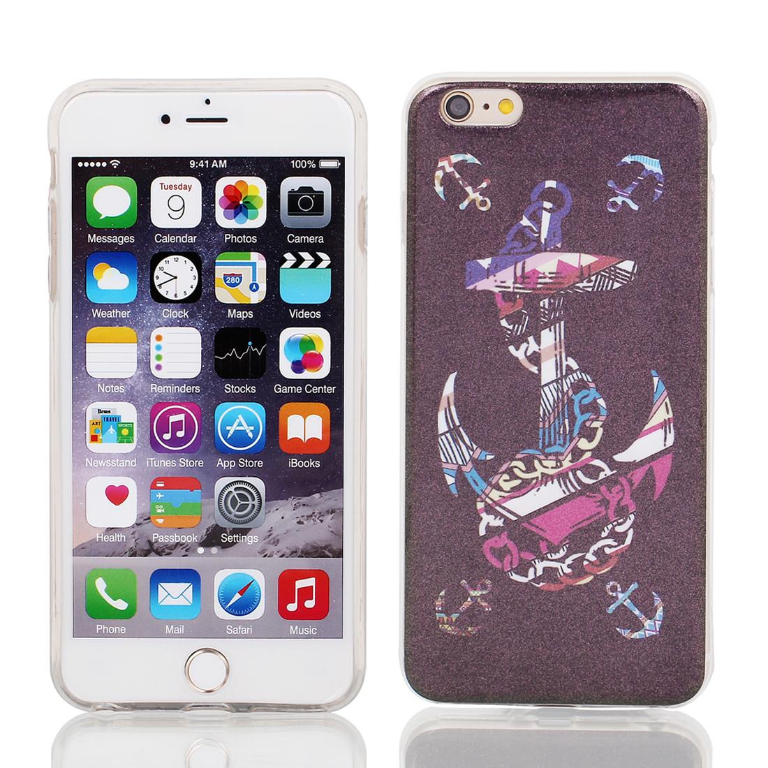 "Soft Plastic Magic Wand Print Case Cover Protector for Apple iPhone 6 Plus 5.5"" Eggplant Color"