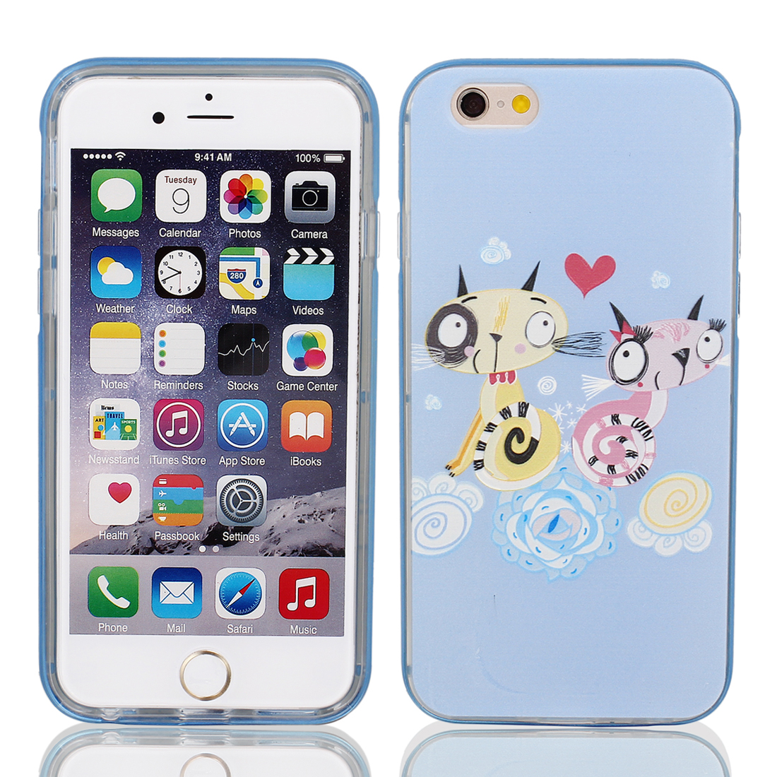 "Soft Plastic Two Cats Pattern Ultra Thin Case Cover Protector w Bumper Frame for Apple iPhone 6 4.7"" Blue"