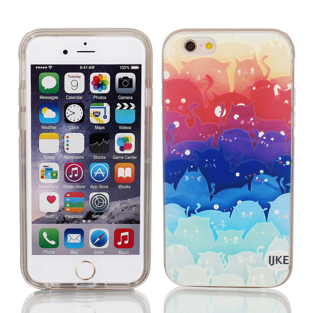 "Soft Plastic Cats Pattren Ultra Thin Case Cover Protector w Bumper Frame for Apple iPhone 6 4.7"" Multicolor"