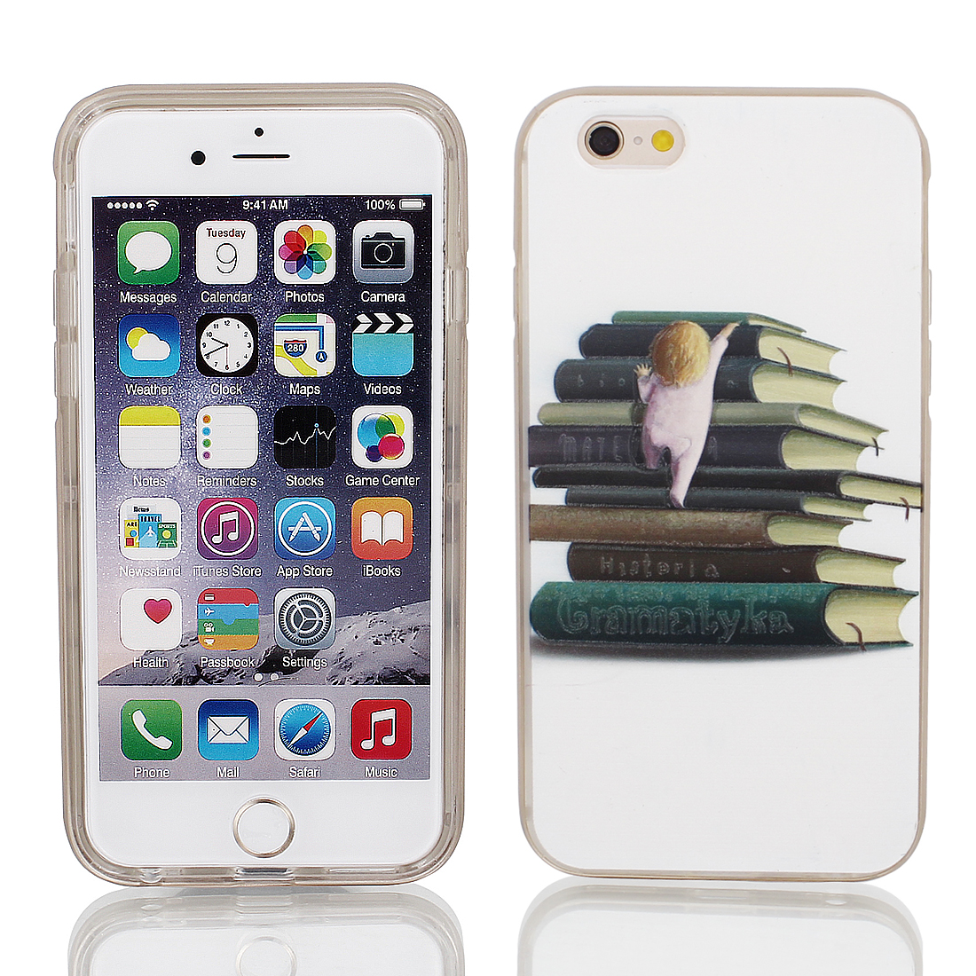 "Soft Plastic Books Pattern Ultra Thin Case Cover Protector w Bumper Frame for Apple iPhone 6 4.7"" White"