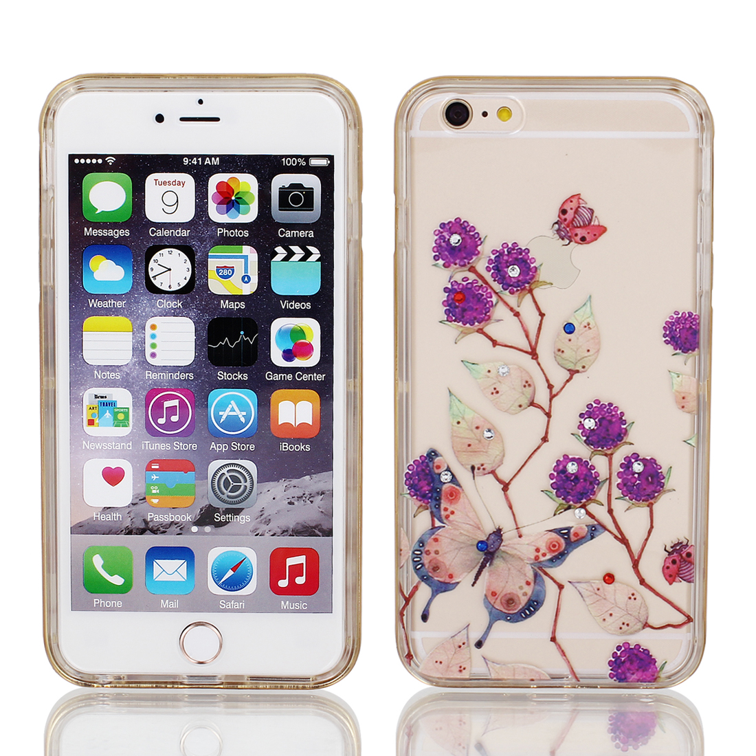 """Soft Plastic Butterfly Print Ultra Thin Case Cover w Bumper Frame for Apple iPhone 6 Plus 5.5"""" Purple"""