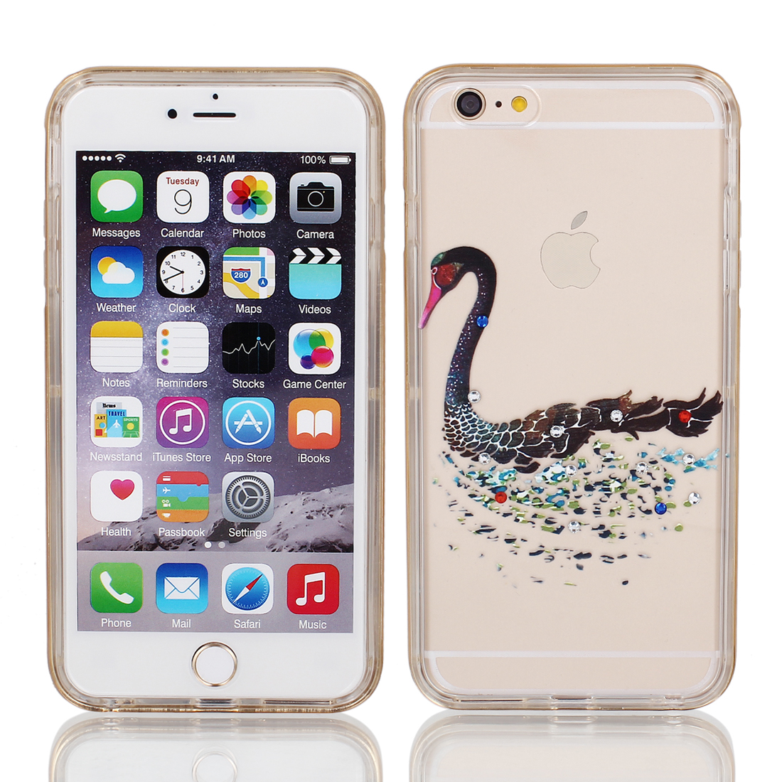 "Soft Plastic Swan Print Ultra Thin Case Cover w Bumper Frame for Apple iPhone 6 Plus 5.5"" Black"