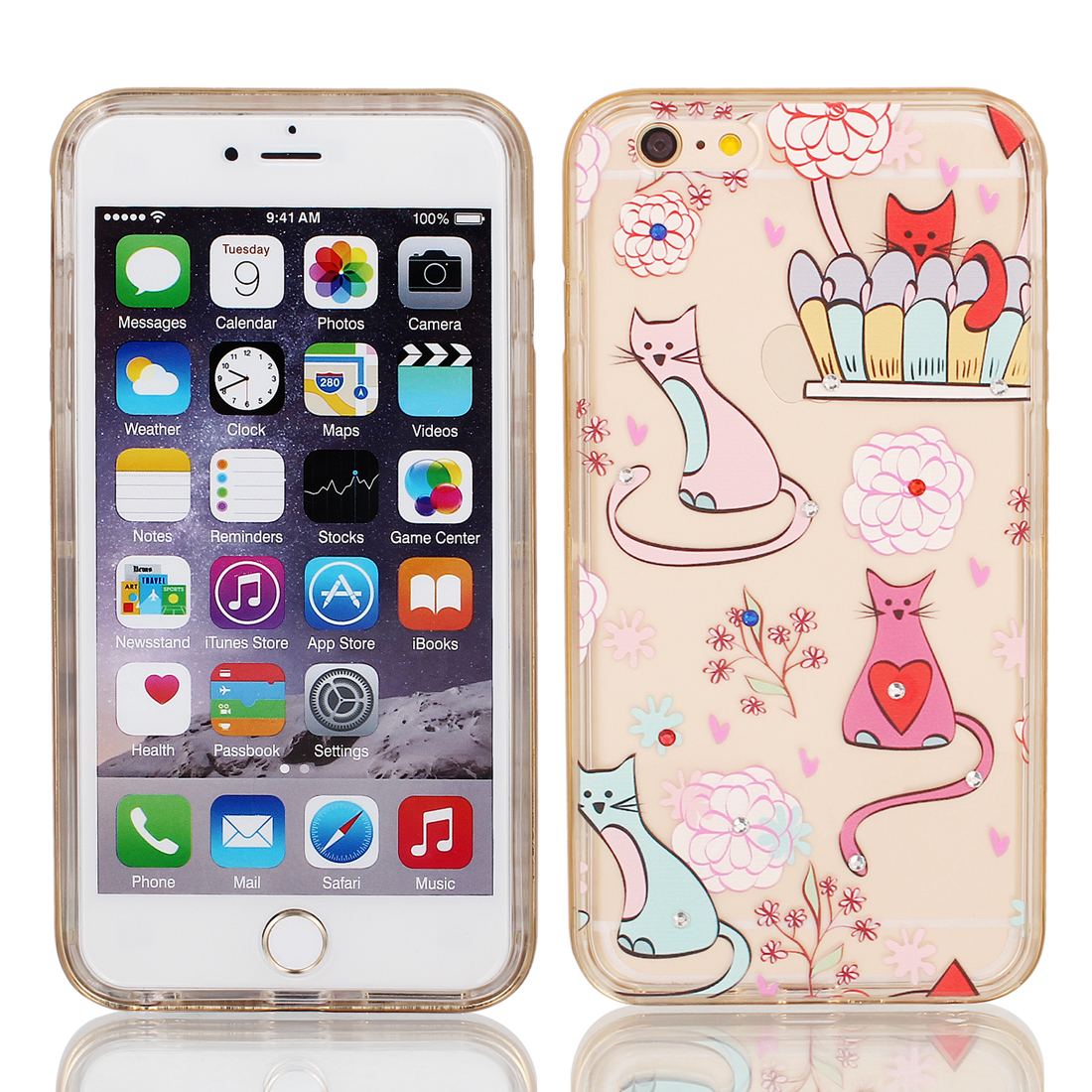 """Soft Plastic Cats Print Ultra Thin Case Cover w Bumper Frame for Apple iPhone 6 Plus 5.5"""" Prink"""