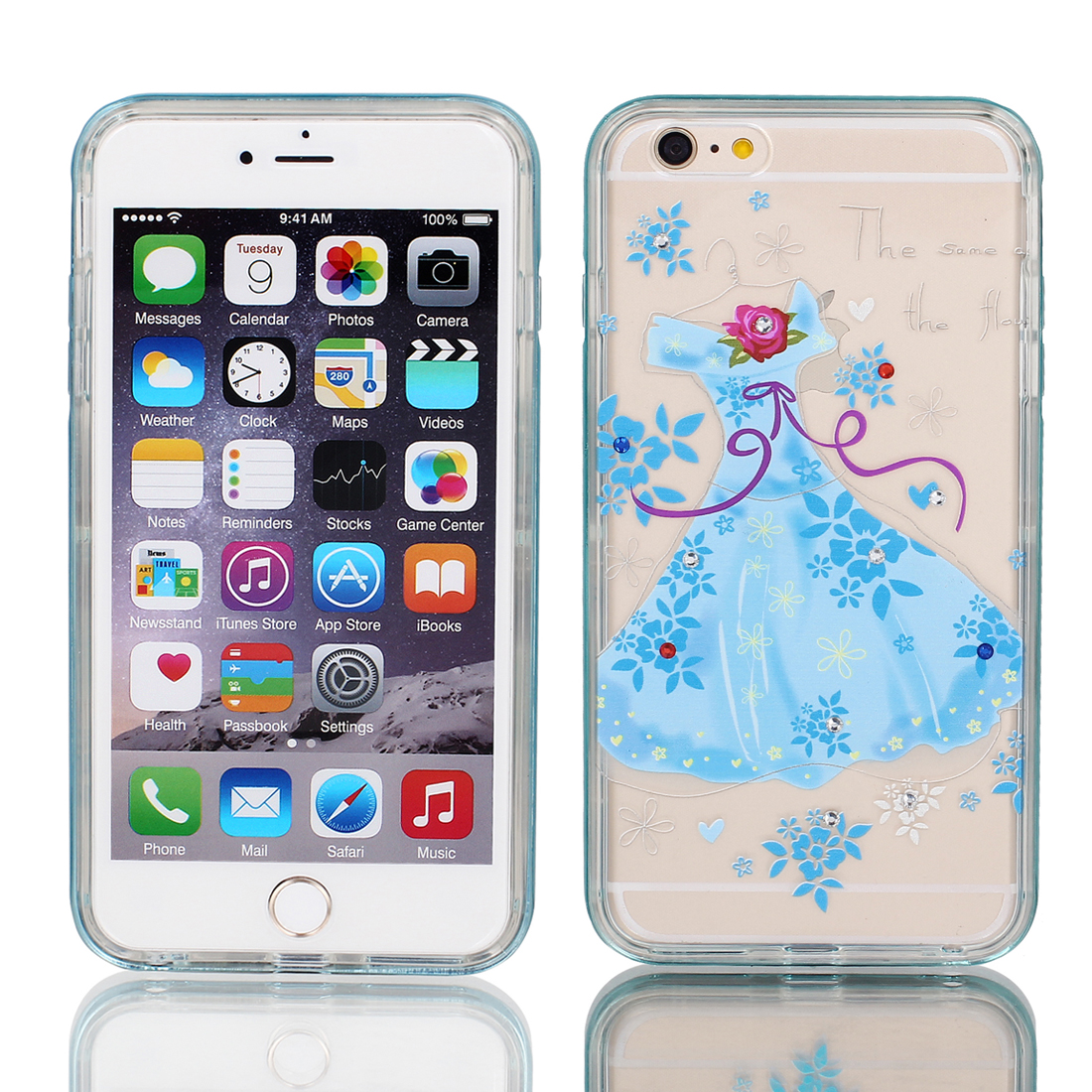 "Soft Plastic Dress Print Thin Case Cover w Bumper Frame for Apple iPhone 6 Plus 5.5"" Blue"