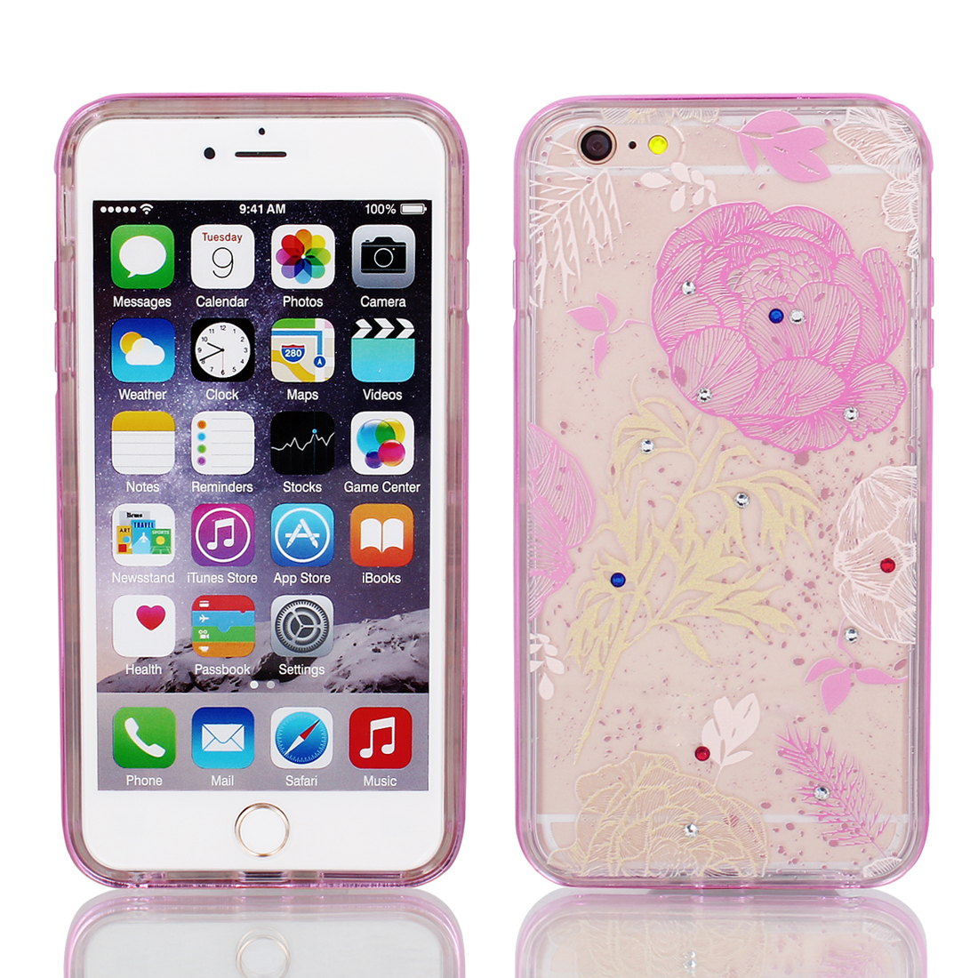 "Soft Plastic Flower Print Case Cover w Bumper Frame for Apple iPhone 6 Plus 5.5"" Pink"