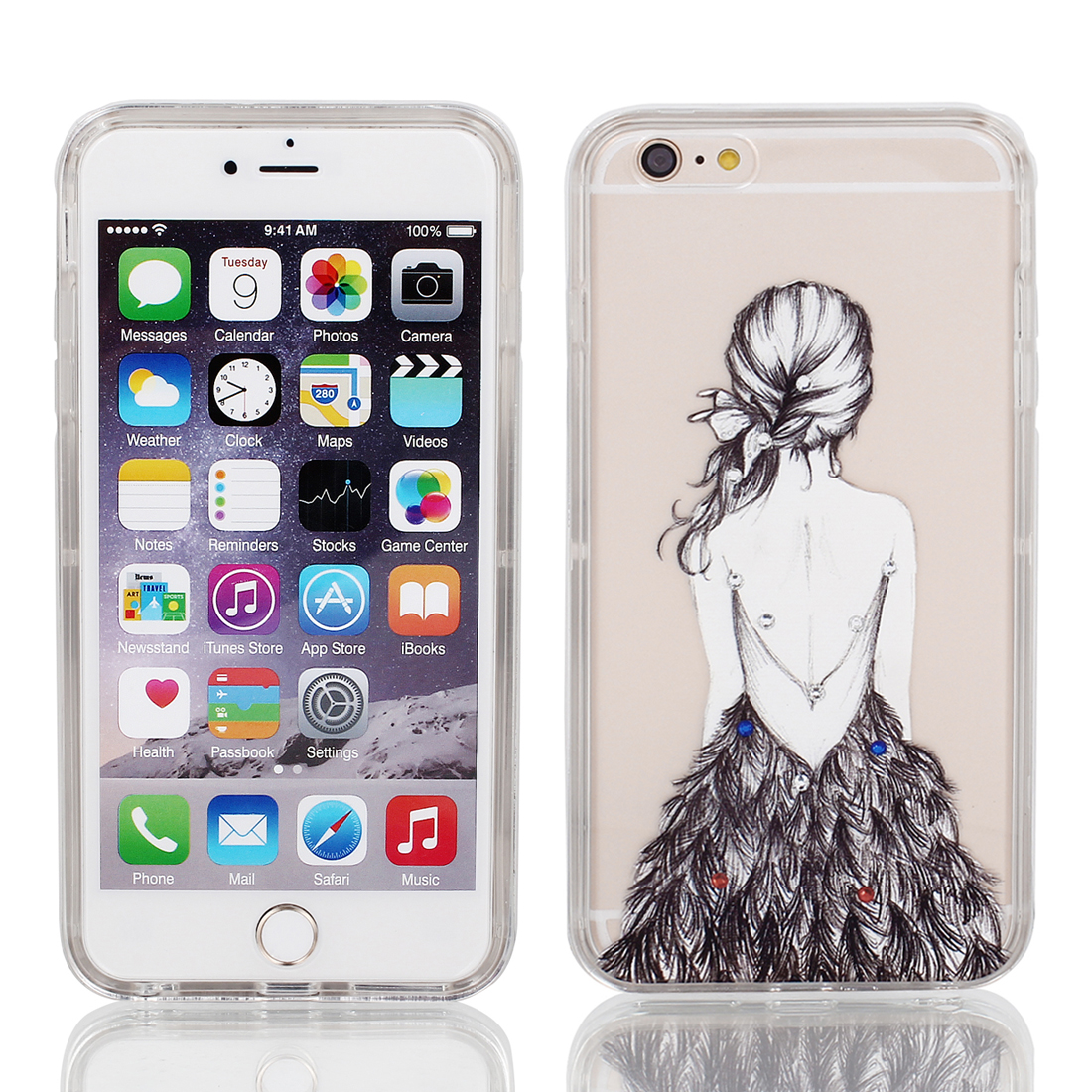 Soft Plastic Girl Print Ultra Thin Case Cover Protector w Bumper Frame for Apple iPhone 6 Plus 5.5""