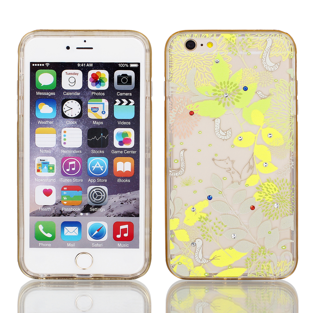 "Soft Plastic Plants Print Ultra Thin Case Cover w Bumper Frame for Apple iPhone 6 Plus 5.5"" Yellow"