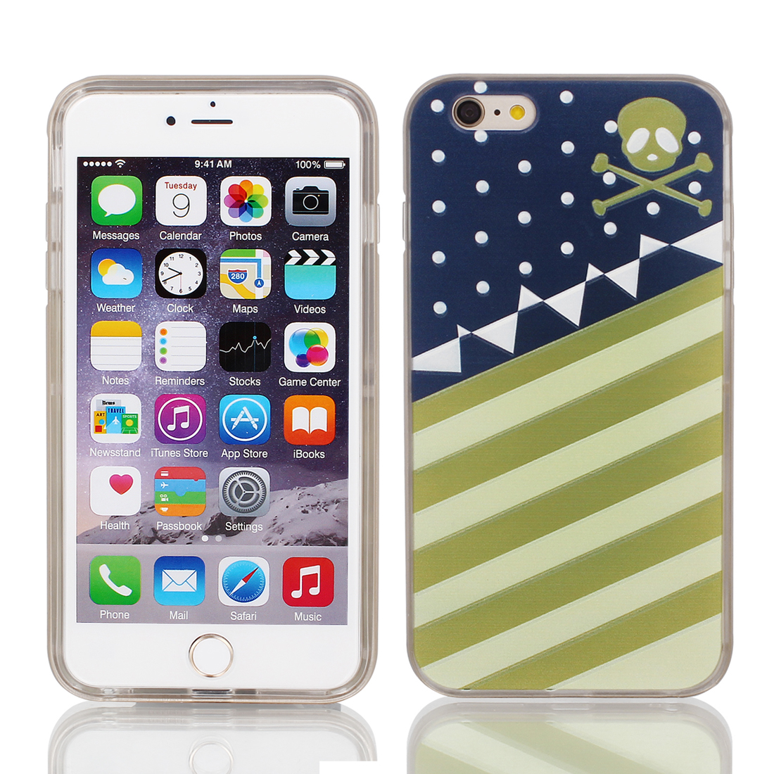 "Soft Plastic Stripe Pattern Ultra Thin Case Cover w Bumper Frame for Apple iPhone 6 Plus 5.5"" Multicolor"